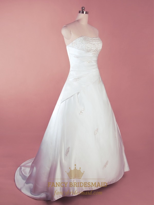 Simple white satin wedding dress a line strapless wedding for Satin a line wedding dress