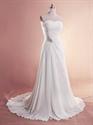 White Chiffon Beach Wedding Dresses, Strapless Chiffon Wedding Dresses