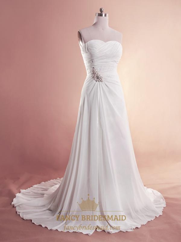 White Chiffon Beach Wedding Dresses Strapless Chiffon