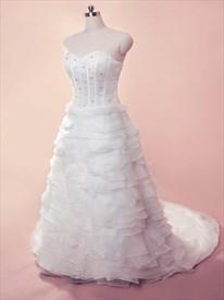 White Tiered Wedding Dress, Wedding Dresses With Organza Layered