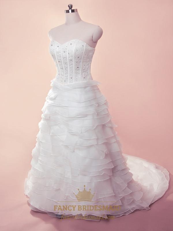 White Tiered Wedding Dress, Wedding Dresses With Organza Layered ...