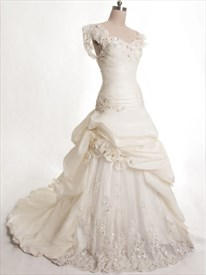 Ivory Taffeta Wedding Dress, Lace A-Line Wedding Dress With Straps