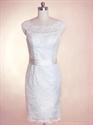 Short Lace Wedding Dresses With Sleeves, Short Wedding Dress With Sash