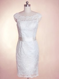 Short Lace Wedding Dresses With Sleeves, Short Wedding Dress With Sash