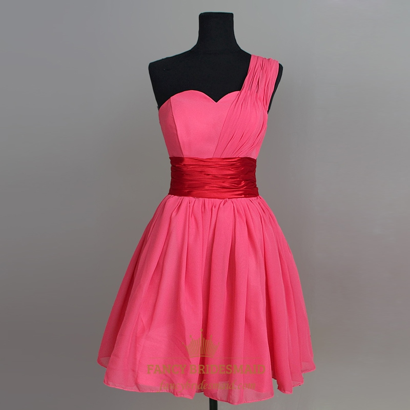 Hot Pink Chiffon Bridesmaid Dress Short One Shoulder Homecoming