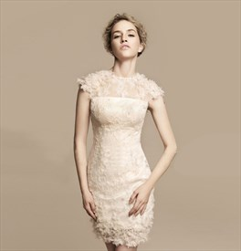 Short Ivory Lace Wedding Dress, Tea Length Wedding Dresses Cap Sleeves