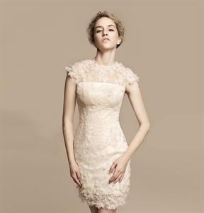 Short Ivory Lace Wedding Dress, Tea Length Wedding Dresses Cap Sleeves