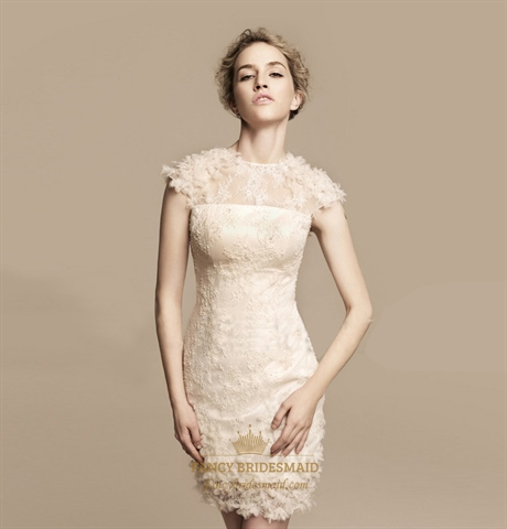 Short Ivory Lace Wedding Dress Tea Length Wedding Dresses