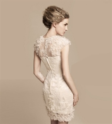 Short Ivory Lace Wedding Dress Tea Length Dresses Cap Sleeves