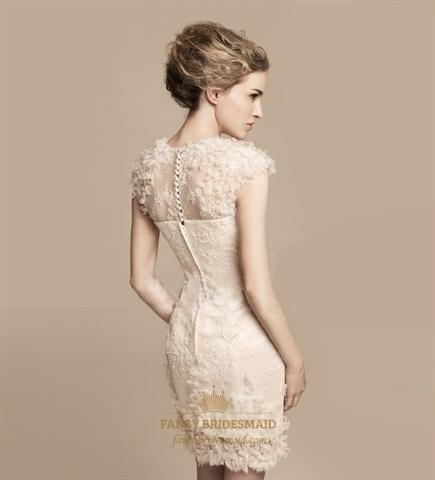 Short ivory lace wedding dress tea length wedding dresses for Ivory lace tea length wedding dress