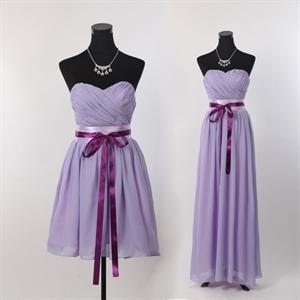 Short Strapless Chiffon Bridesmaid Dress, Lilac Short Bridesmaid Dress