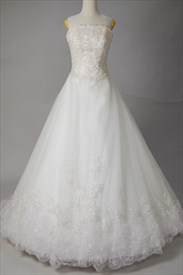 White Strapless Wedding Dresses, Wedding Dresses With Chapel Train