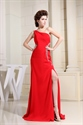 Long Red Chiffon Prom Dress, Chiffon One Shoulder Evening Dress