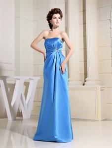 Long Aqua Bridesmaid Dresses, Aqua Side Pleated Strapless Gown