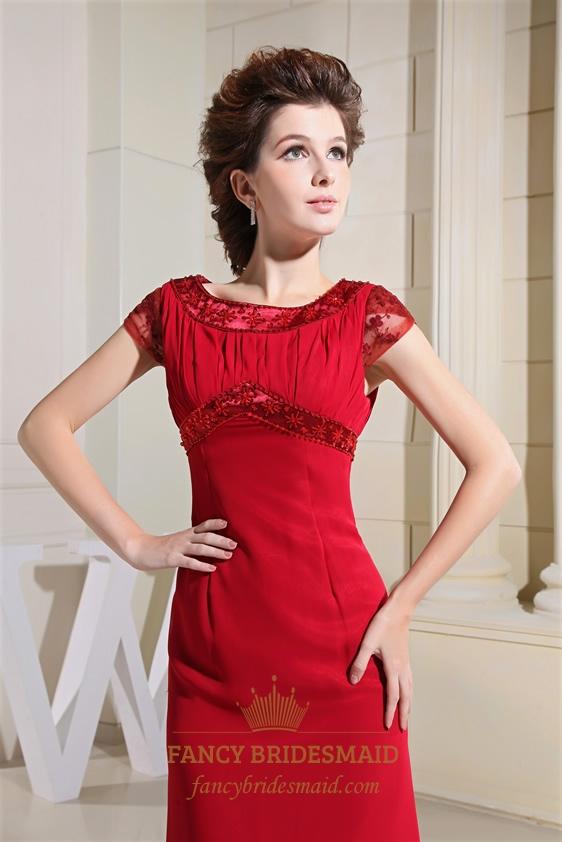 Red Empire Waist Chiffon Bridesmaid Dresses