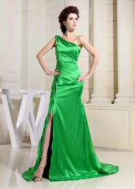 Lime Green One Shoulder Prom Dress, Green Floor Length Evening Gown
