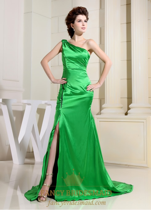 Lime Green One Shoulder Prom Dress, Green Floor Length Evening Gown ...