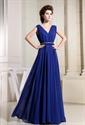 Chiffon Royal Blue Prom Dress, A-Line V-Neck Long Chiffon Prom Dress