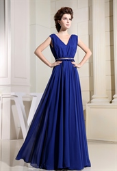 Chiffon Royal Blue Prom Dress, A-Line V-Neck Long Chiffon Prom Dress