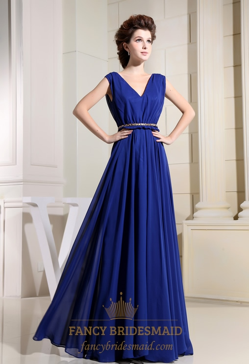 Chiffon Royal Blue Prom Dress, A-Line V-Neck Long Chiffon Prom Dress ...