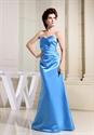 Sweetheart Neck Long Pleated Bridesmaid Dress, Long Aqua Prom Dress