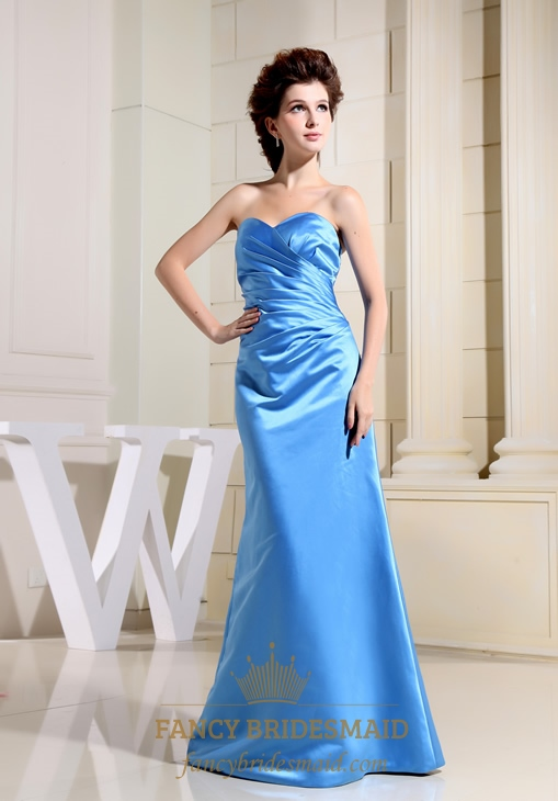 Sweetheart Neck Long Pleated Bridesmaid Dress, Long Aqua Prom Dress