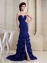 Royal Blue Mermaid Prom Dress, Sweetheart Long Chiffon Evening Dress