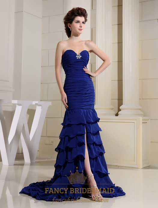 Royal Blue Mermaid Prom Dress, Sweetheart Long Chiffon Evening Dress