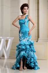 Aqua Blue Mermaid Prom Dress, One Shoulder Floor Length Prom Dress