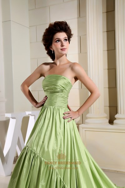 Apple Green Prom Dresses, Strapless Ruched Prom Dress High Low Hemline