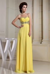 Yellow Chiffon Evening Dress, Strapless Beaded Long Chiffon Prom Dress