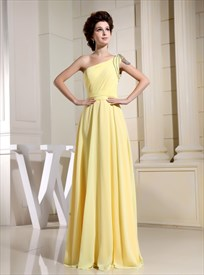 Yellow One Shoulder Chiffon Dress, Chiffon One Shoulder Evening Dress