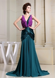 Floor Length Low V-Neck Scala Dress, Mermaid Floor-Length V-Neck Dress