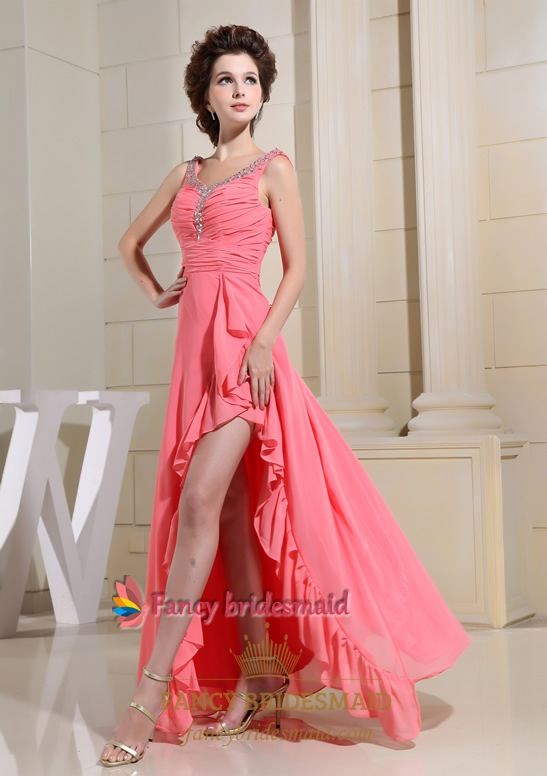 Coral Chiffon Evening Dress, Prom Dresses With Sides Cut Out