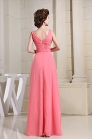 Chiffon A-Line Floor-Length Evening Dress, Keyhole Prom Dresses