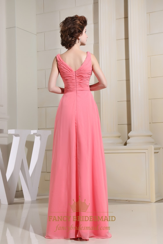 Chiffon A-Line Floor-Length Evening Dress, Keyhole Prom Dresses