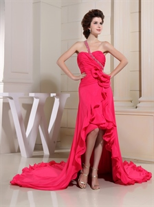 Hot Pink One Shoulder Prom Dress, High Low Chiffon Prom Dress