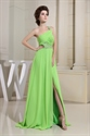 Chiffon One Shoulder Evening Dresses, Green Floor Length Evening Gowns
