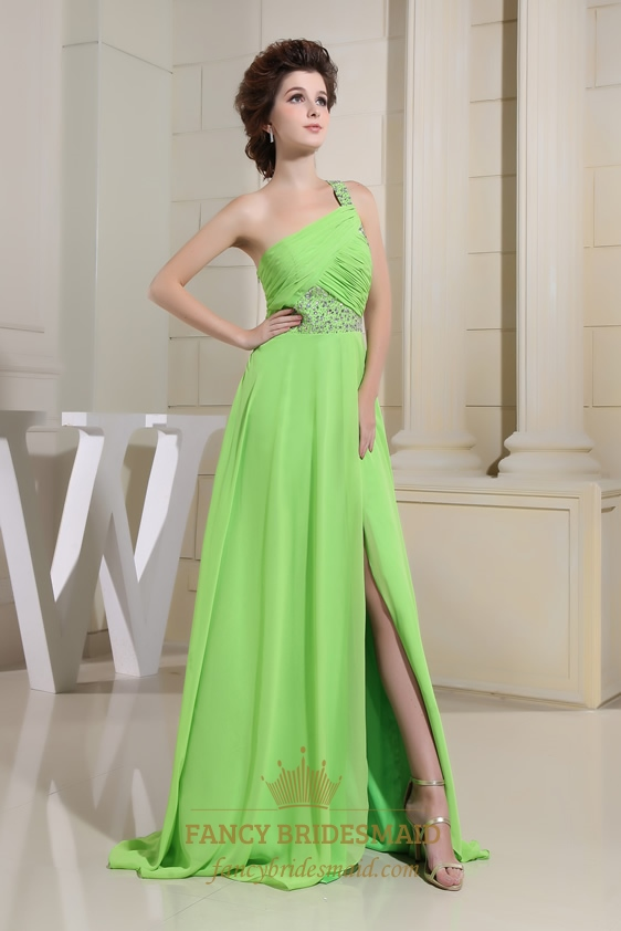 Chiffon One Shoulder Evening Dresses, Green Floor Length Evening ...