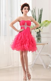 Strapless Organza Dress With Ruffled Skirt, Hot Pink Short Prom Dress