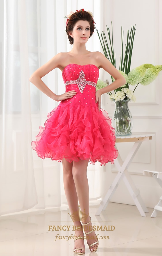 Strapless organza dress with ruffled skirt hot pink short for Pink ruffle wedding dress