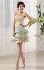 Organza Strapless Short Cocktail Prom Dress, Short Tiered Prom Dresses