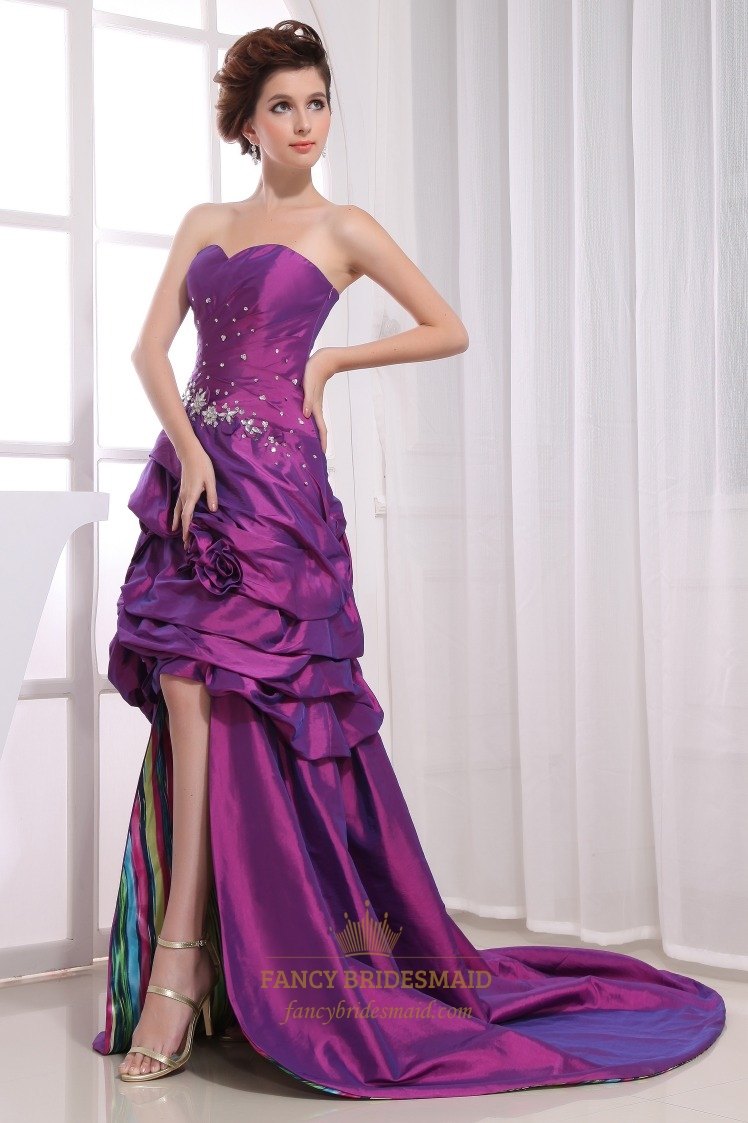 Strapless Sweetheart Purple High-Low Dress, Purple Beaded Prom Dresses