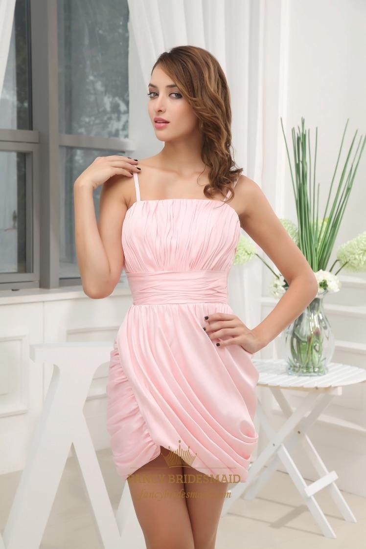 Short Pink Spaghetti Strap Babydoll Dress Short Pink Cocktail