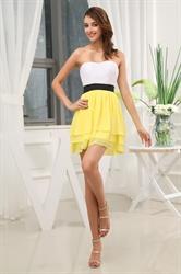 Short Strapless Chiffon Bridesmaid Dress, Short Chiffon Cocktail Dress