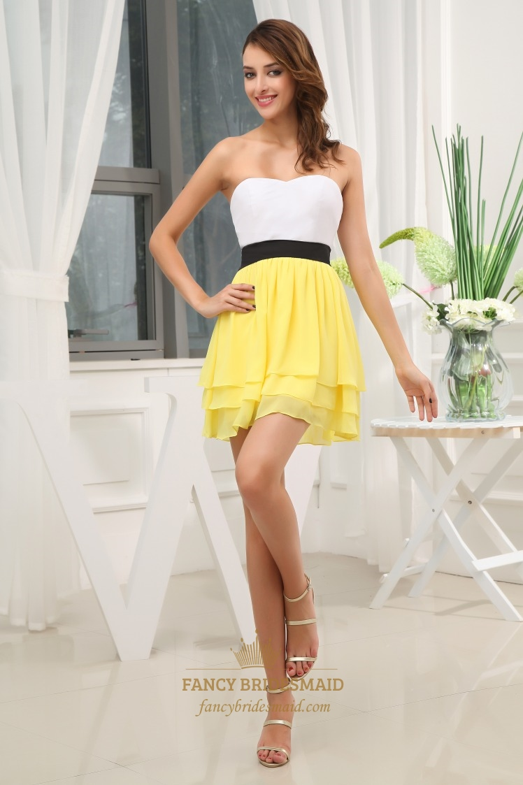 Strapless White Chiffon Dress