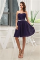 Dark Purple Short Bridesmaid Dresses, Knee Length Homecoming Dresses