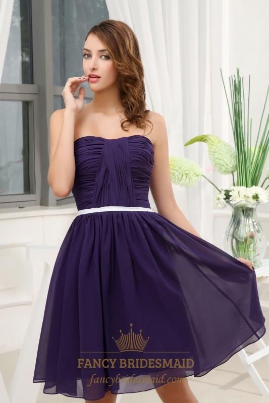 Dark Purple Short Bridesmaid Dresses, Knee Length ...