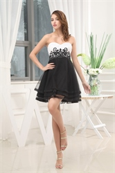 Strapless Black And White Cocktail Dress, White Tiered Cocktail Dress