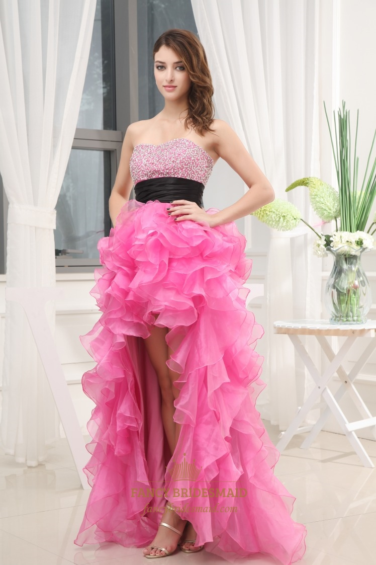 Strapless organza dress with ruffled skirt hot pink high for Pink ruffle wedding dress